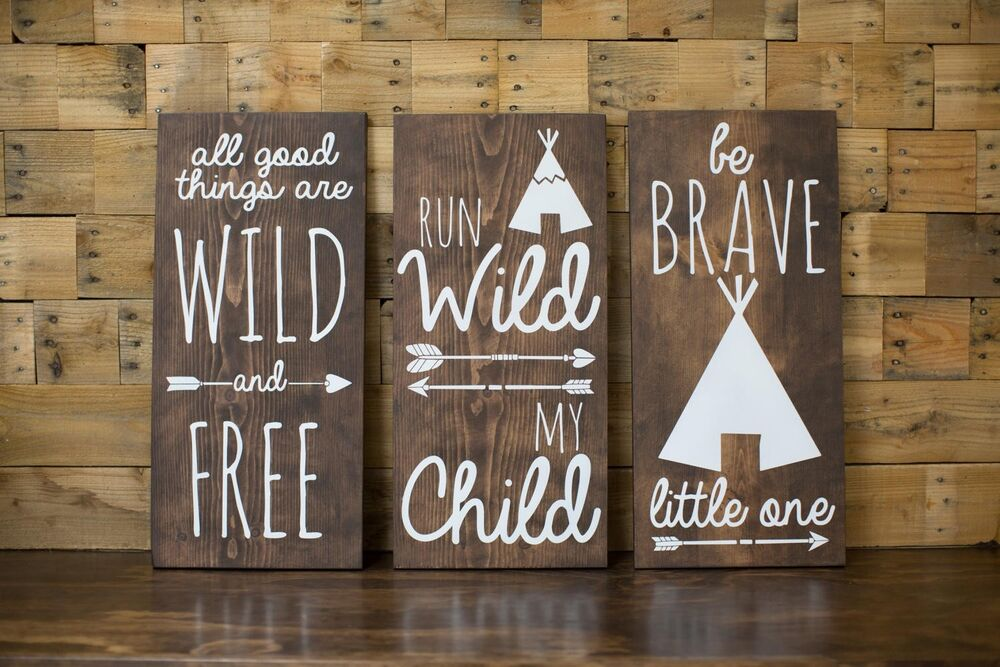 Tribal Nursery Wood Signs Home Decor Baby Shower Gift
