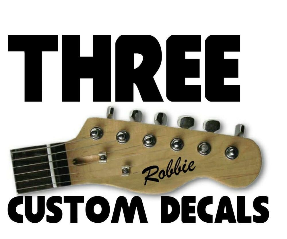 3 x stickers personalise custom name electric acoustic guitar headstock decal ebay. Black Bedroom Furniture Sets. Home Design Ideas