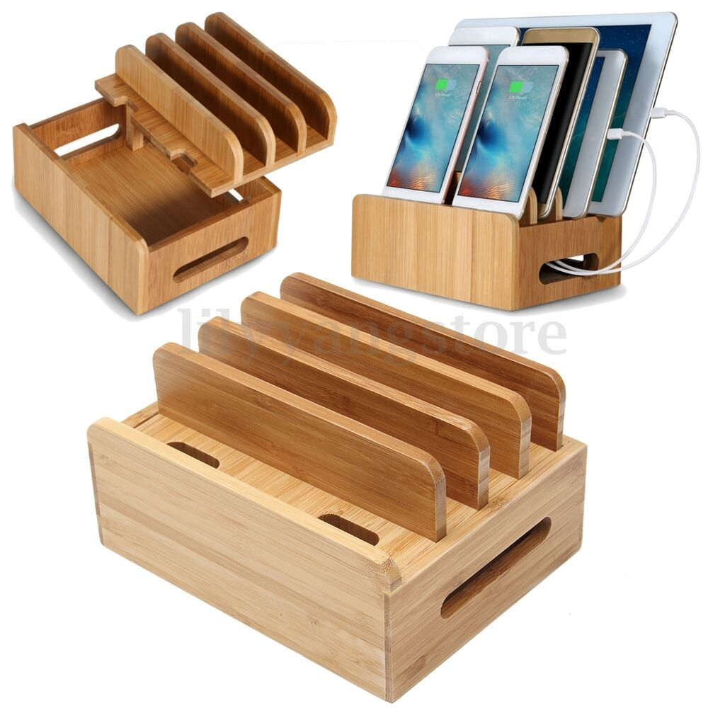 Bamboo Multi Device Organizer Stand Charging Station Dock