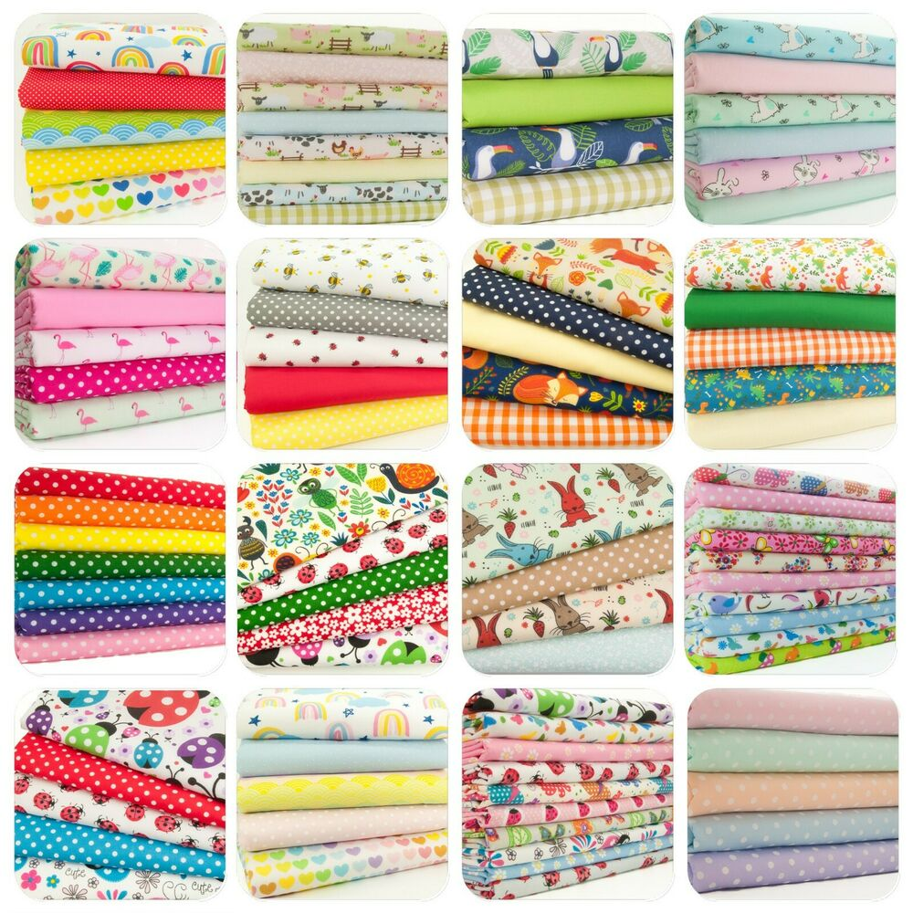 Fat quarter fabric bundles kids nursery craft for Childrens fabric bundles