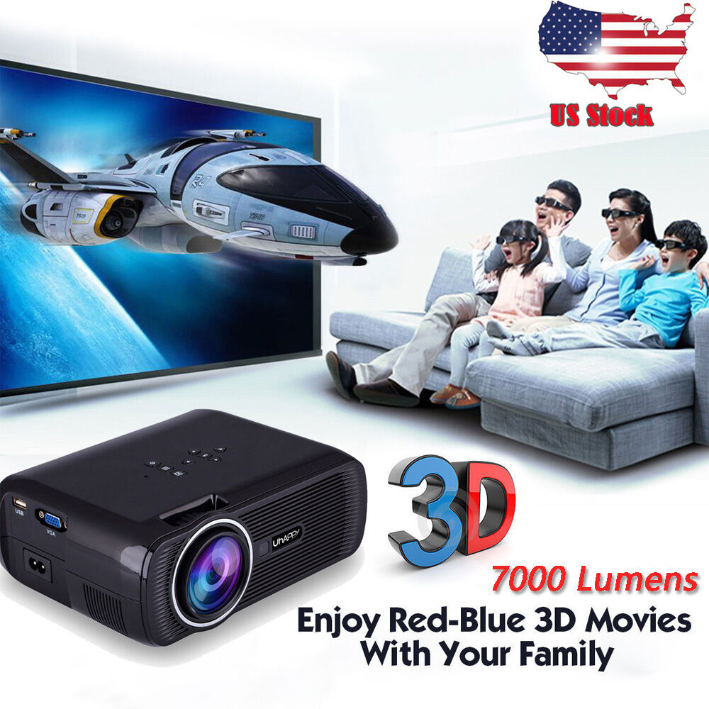 H60 Portable 3d Led Projector Lcd Multimedia Home Cinema: 7000 Lumens 1080P HD Multimedia Portable Projector 3D LED