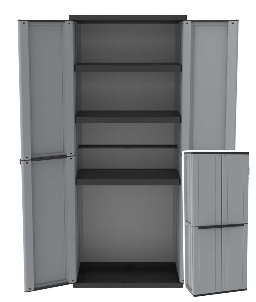 plastic storage cabinet with doors plastic garden storage cupboard outdoor sheds garages 24794