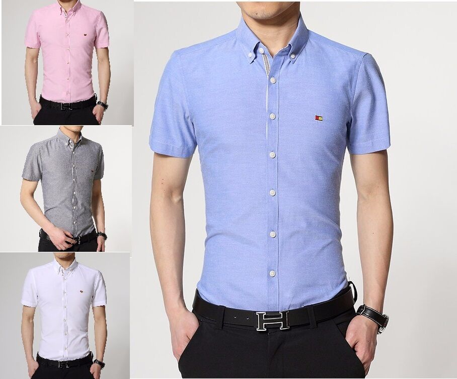 e33a3f1f752 Details about Mens Short Sleeve Shirts Casual Dress Formal Slim Fit Shirt  Top S M L XL PS16