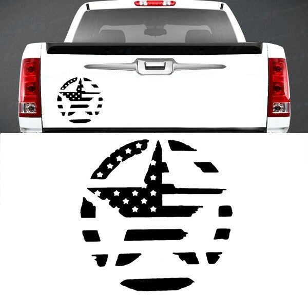 Military Star American Flag Tailgate Vinyl Graphic Decal