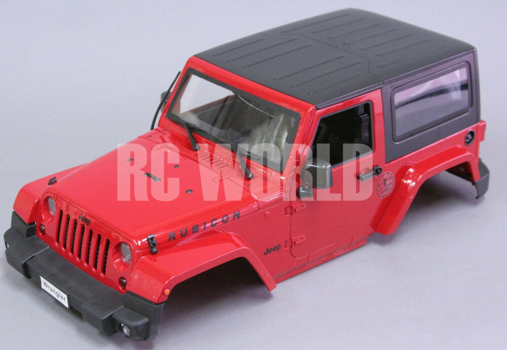 rc scale truck body shell1 10 jeep wrangler rubicon hard body w interior red ebay. Black Bedroom Furniture Sets. Home Design Ideas