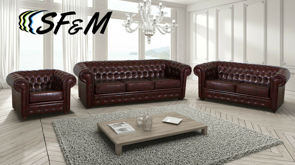 NEW SOFT LEATHER CHESTERFIELD SOFA ARMCHAIRS in ANTIQUE