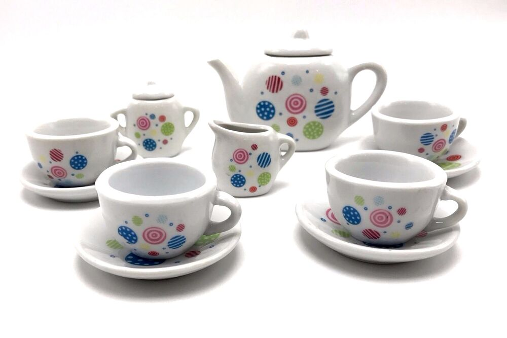 tea set porcelain polka dot 13pc child party playset cooking for kids new age 8 ebay. Black Bedroom Furniture Sets. Home Design Ideas