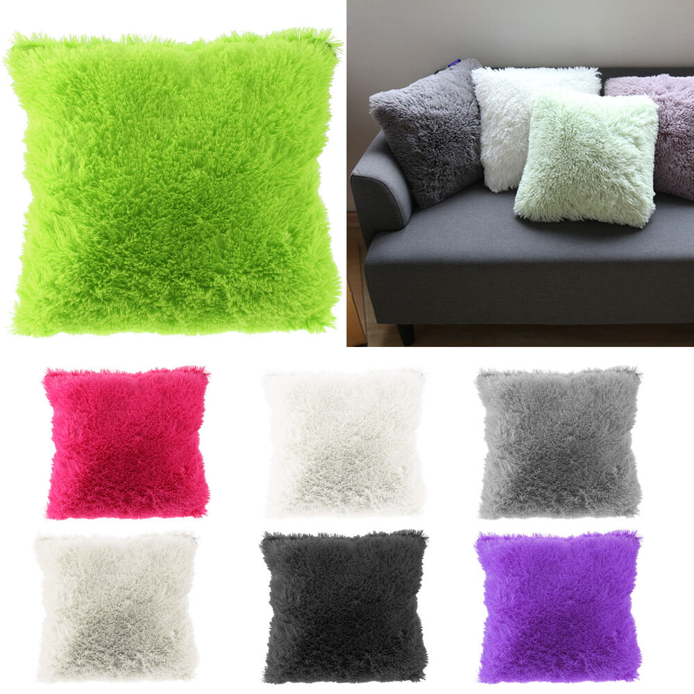 Sofa Pillows Soft: Throw Family Decoration Fur Fluffy Sofa Pillow Soft Plush