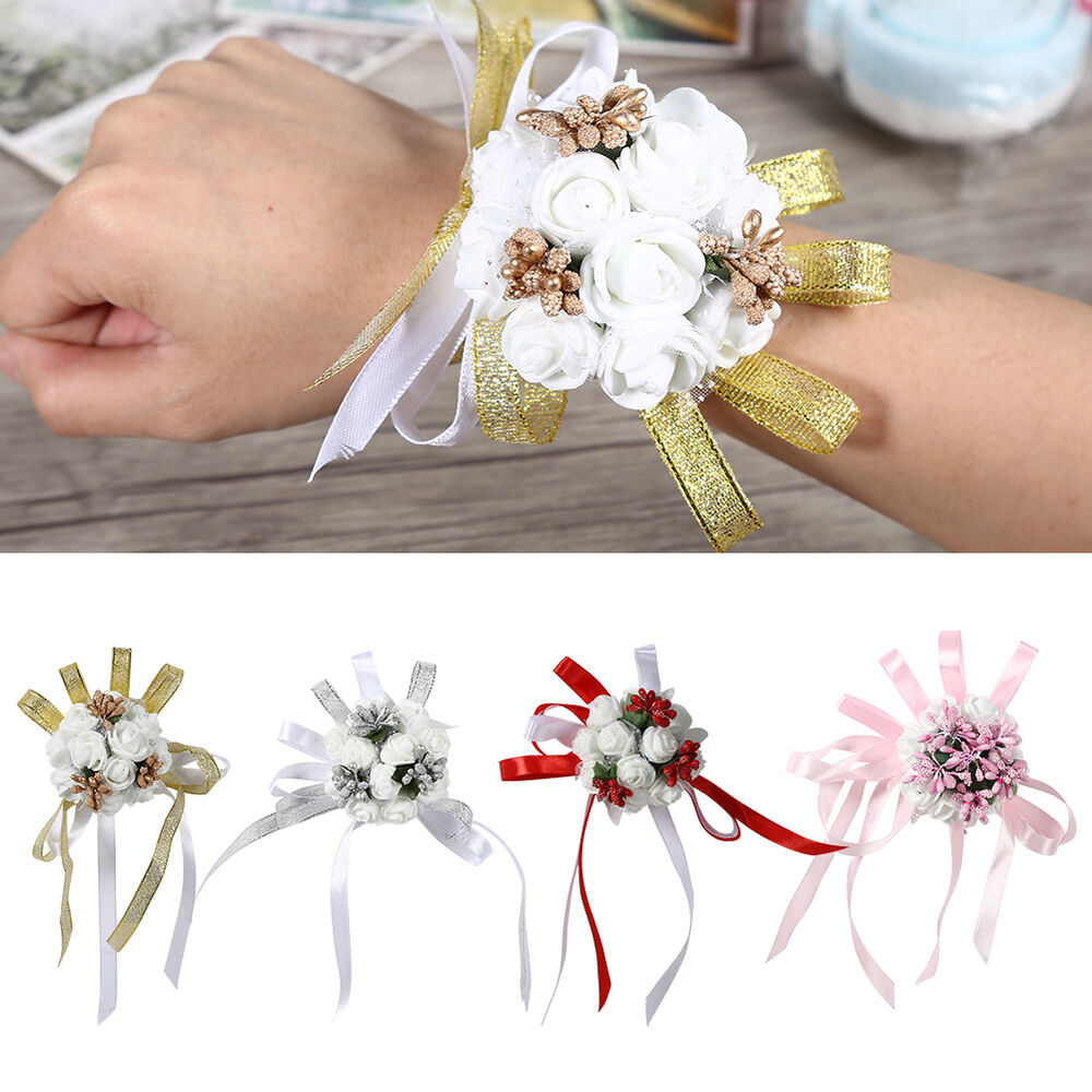 delicate wrist corsage bracelet bridesmaid sisters hand flowers wedding party ebay. Black Bedroom Furniture Sets. Home Design Ideas
