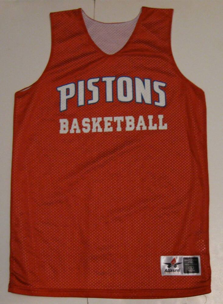 7c8075f90 L Youth Alleson Detroit Pistons Basketball Reversible Basketball Jersey EUC