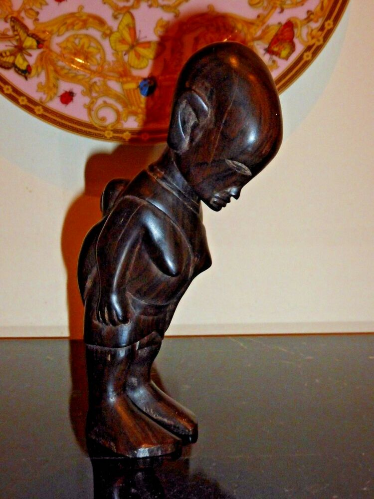 Vintage Tribal Hand Carved Wooden African Woman Carrying