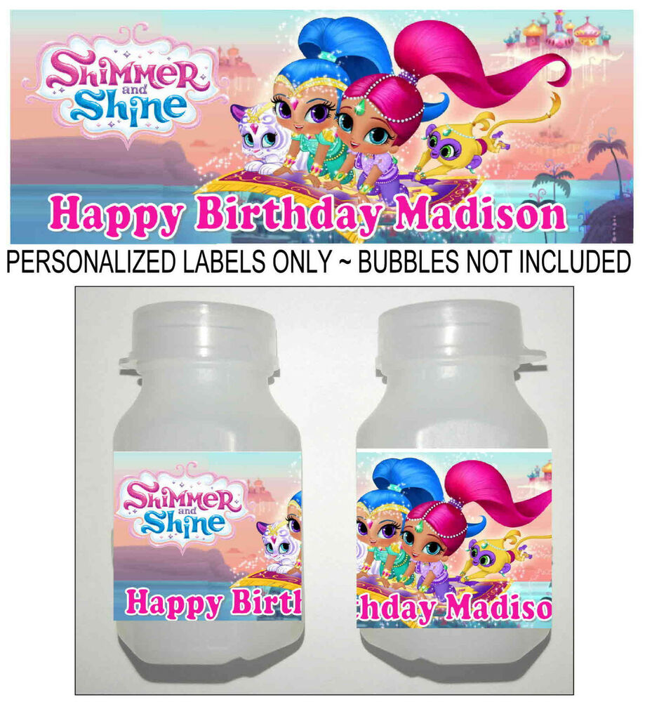 30 SHIMMER AND SHINE BIRTHDAY PARTY FAVORS BUBBLE LABELS