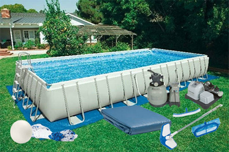16 39 x32 39 x52 intex ultra frame rectangular pool kit with for Construction pool house piscine