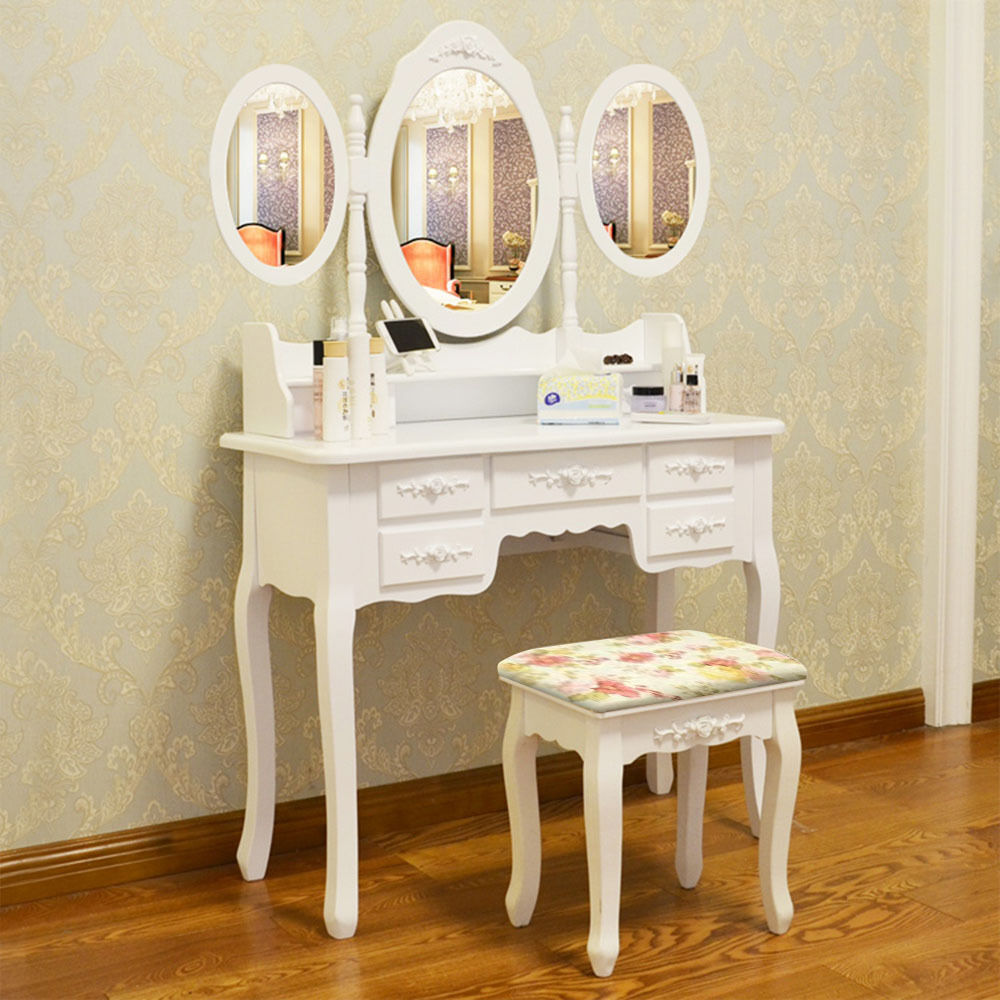 white dressing table makeup desk with stool 7 drawers and. Black Bedroom Furniture Sets. Home Design Ideas