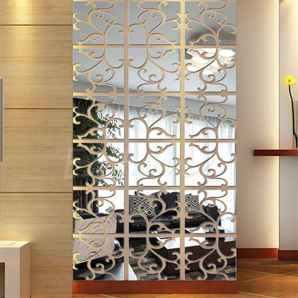 32pcs 3D Acrylic Modern Mirror Decal Art Mural Wall ...