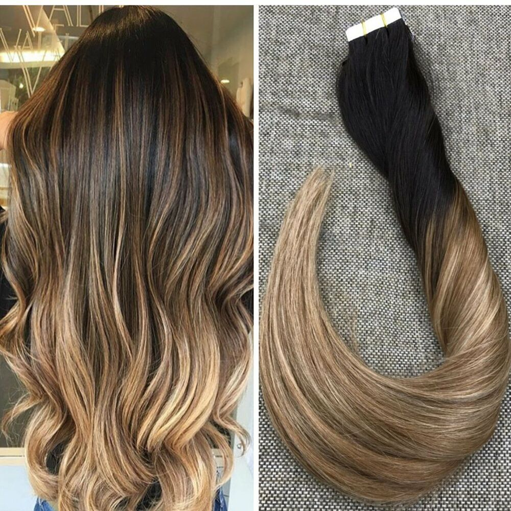 ombre balayage brazilian brown golden blonde remy tape in. Black Bedroom Furniture Sets. Home Design Ideas