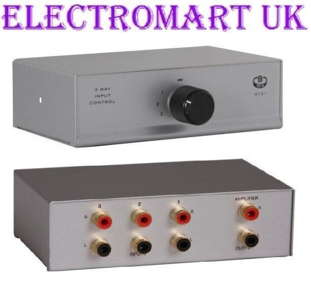 Audio Input Box : Way phono rca stereo audio input selector switch box ebay
