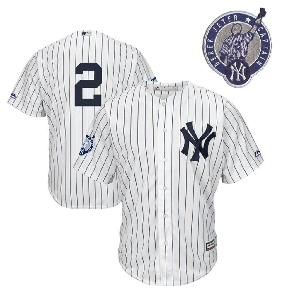 Details about Majestic New York Yankees Derek Jeter AUTHENTIC Jersey  Retirement Patch e4379a70b43