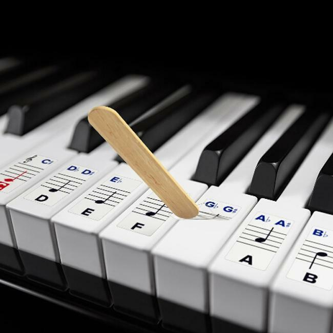It is a picture of Declarative 61 Key Piano Labeled
