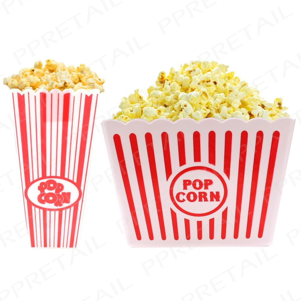 2x Traditional Popcorn Holder Small Large Movie Film Party