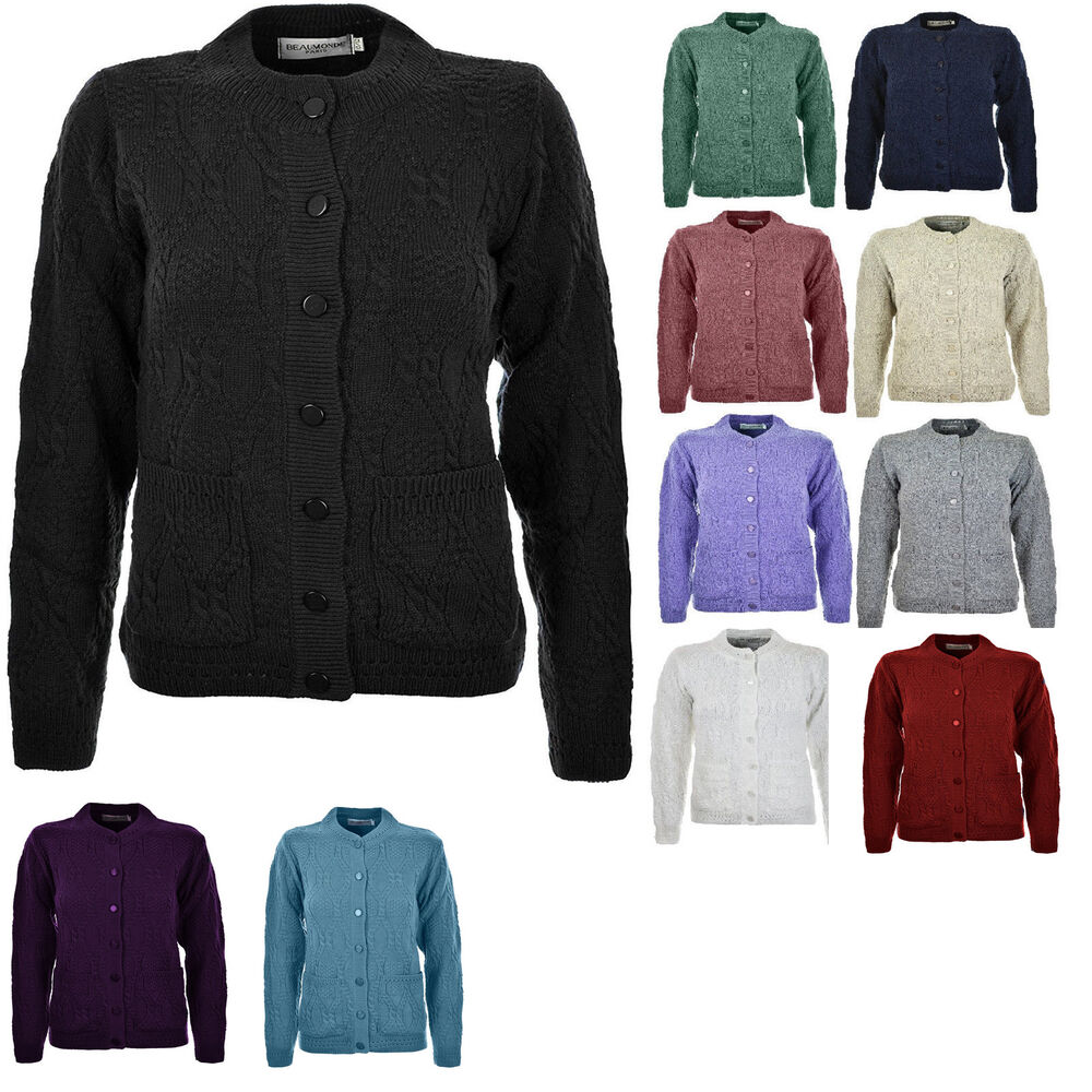 f08f883e5d Womens Ladies Knitted Crew Neck Pocket Front Button Up Aran Cardigan UK 10-24