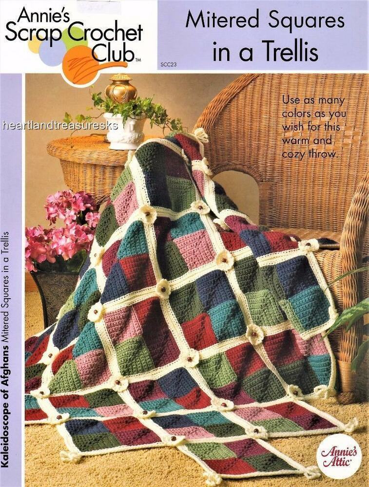 Mitered Squares in a Trellis Annie\'s Scrap Afghan Crochet Pattern ...
