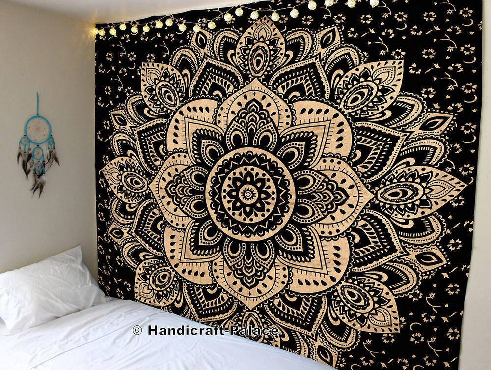 Indian Tapestry Wall Hanging Mandala Throw Hippie Gold