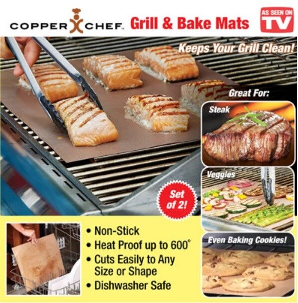 Grill And Bake Mats Copper Chef 2 Pack 4pc Bbq Non Stick