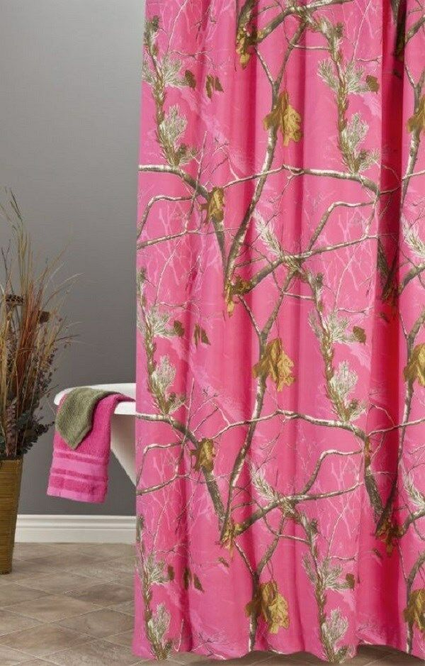 Realtree ap fuchsia hot pink camouflage shower curtain for Pink camo bathroom accessories