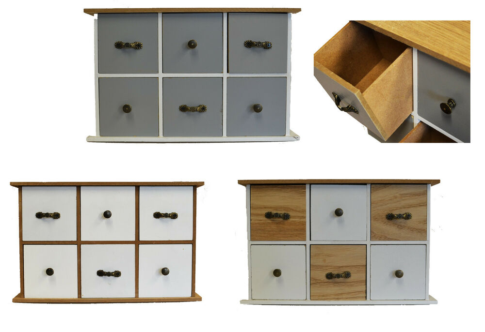 3 ver schrank mit 6 schubladen 28x9x18cm holz vintage deko schr nkchen kommode ebay. Black Bedroom Furniture Sets. Home Design Ideas