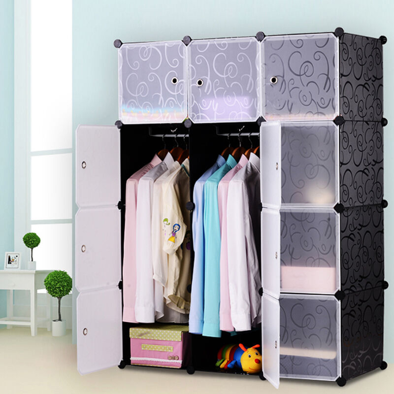 diy kleiderschrank regalsystem garderobe regal steckregal standregal mit t ren ebay. Black Bedroom Furniture Sets. Home Design Ideas