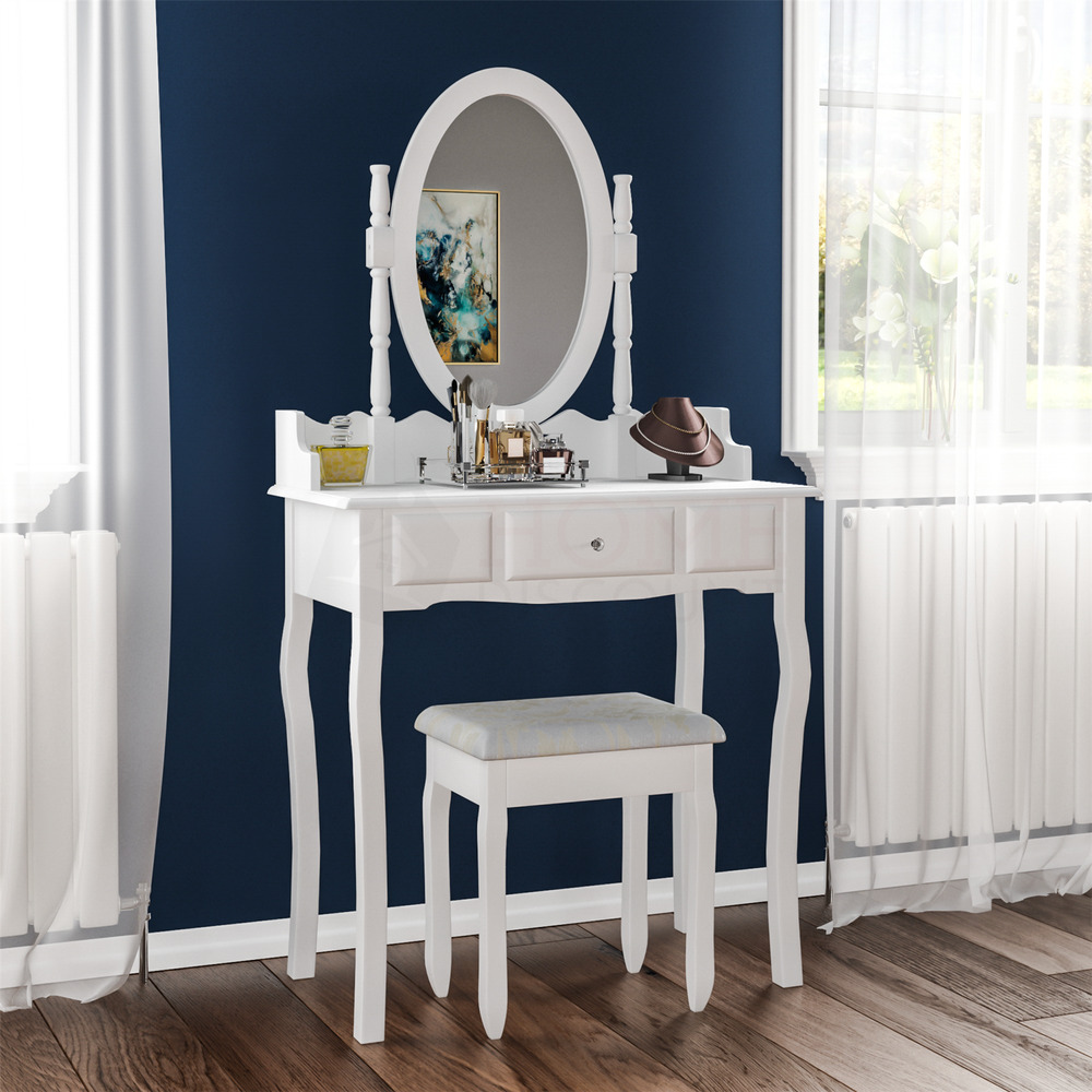 Nishano dressing table 1 drawer stool white mirror bedroom for White makeup desk with mirror