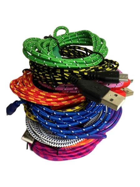 USB Braided Cable Sync Charger Data Lead For Andriod Mobile Phones Samsung, HTC