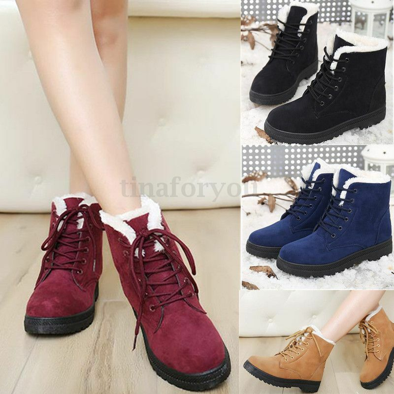 Women's Ladies Flat Lace Up Fur Lined Winter Snow Boots ...