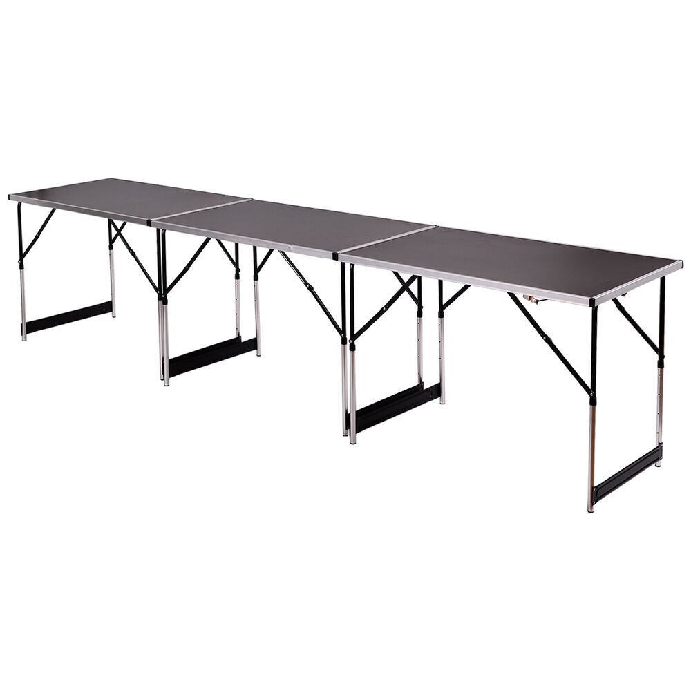 3pcs height adjustable folding table indoor outdoor party - Camping table adjustable height ...