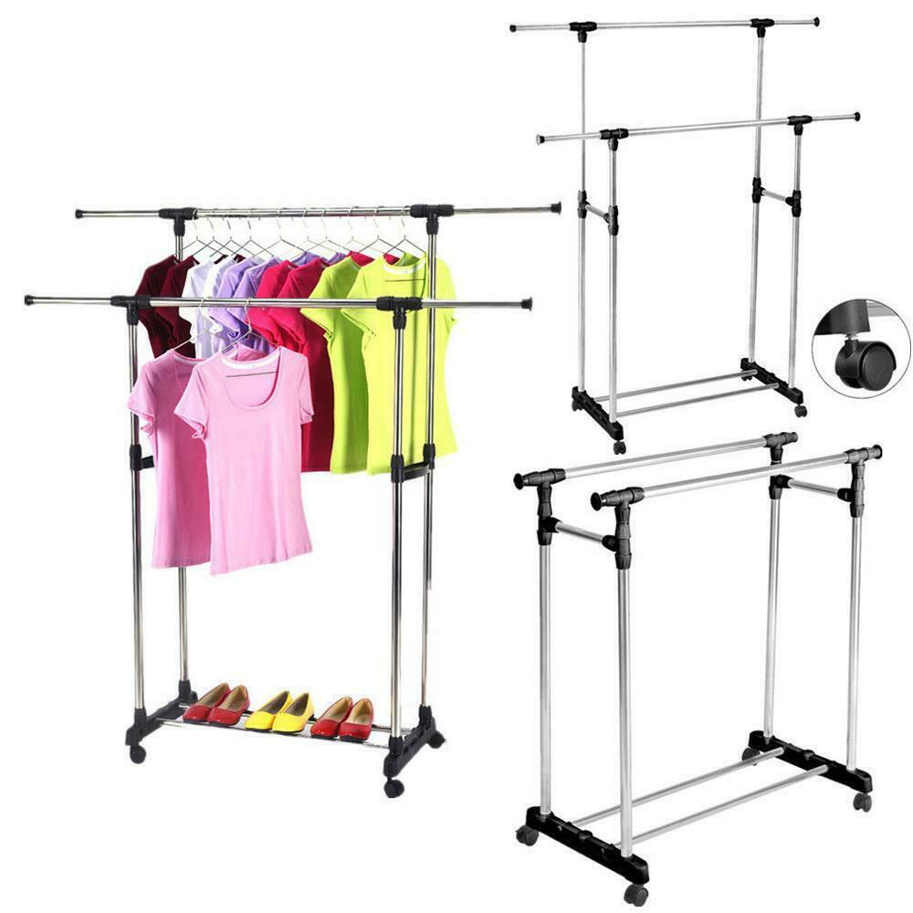heavy duty double adjustable portable clothes dry hanger rolling rack rail ebay. Black Bedroom Furniture Sets. Home Design Ideas