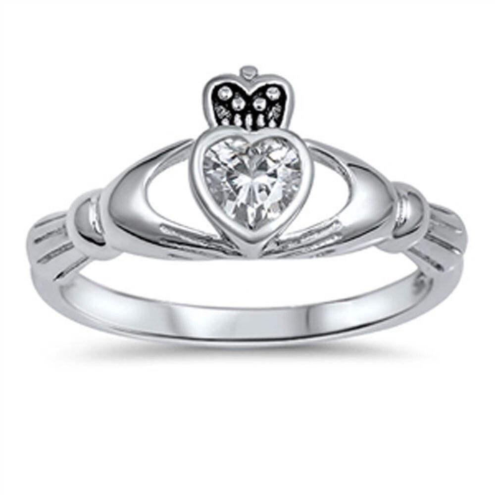 friendship heart white cz claddagh ring new 925 sterling. Black Bedroom Furniture Sets. Home Design Ideas