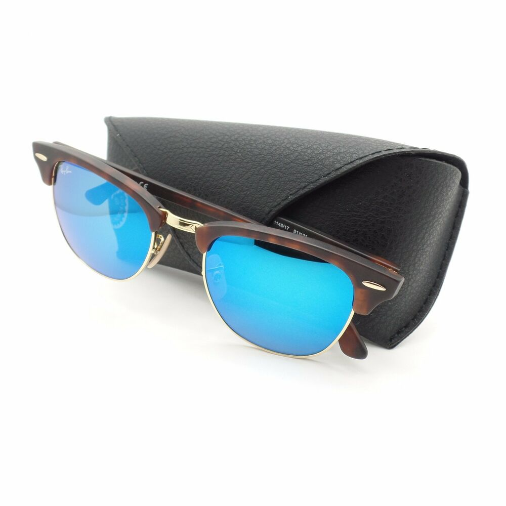 d9495ee450 Details about Ray Ban Clubmaster 3016 1145 17 Sand Havana Blue Mirror New  Authentic Sunglasses
