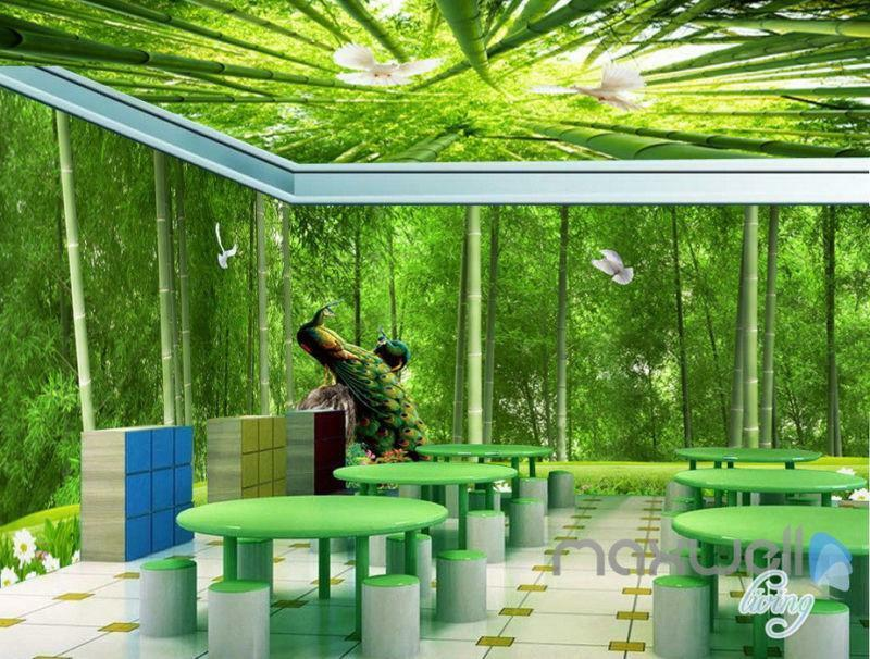 3D Bamboo Forest Peacock Entire Living Room Bedroom