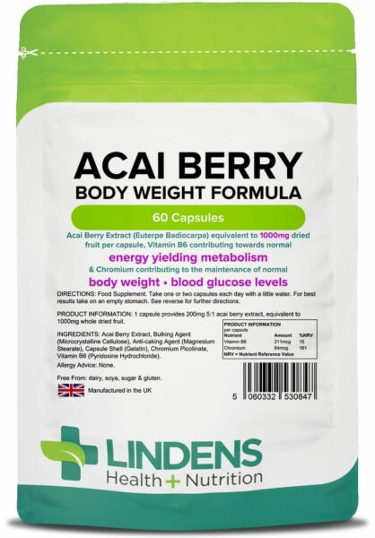 Acai Berry Strength 1000mg Weight Loss Capsules (60 pack) UK Manufactured Linden