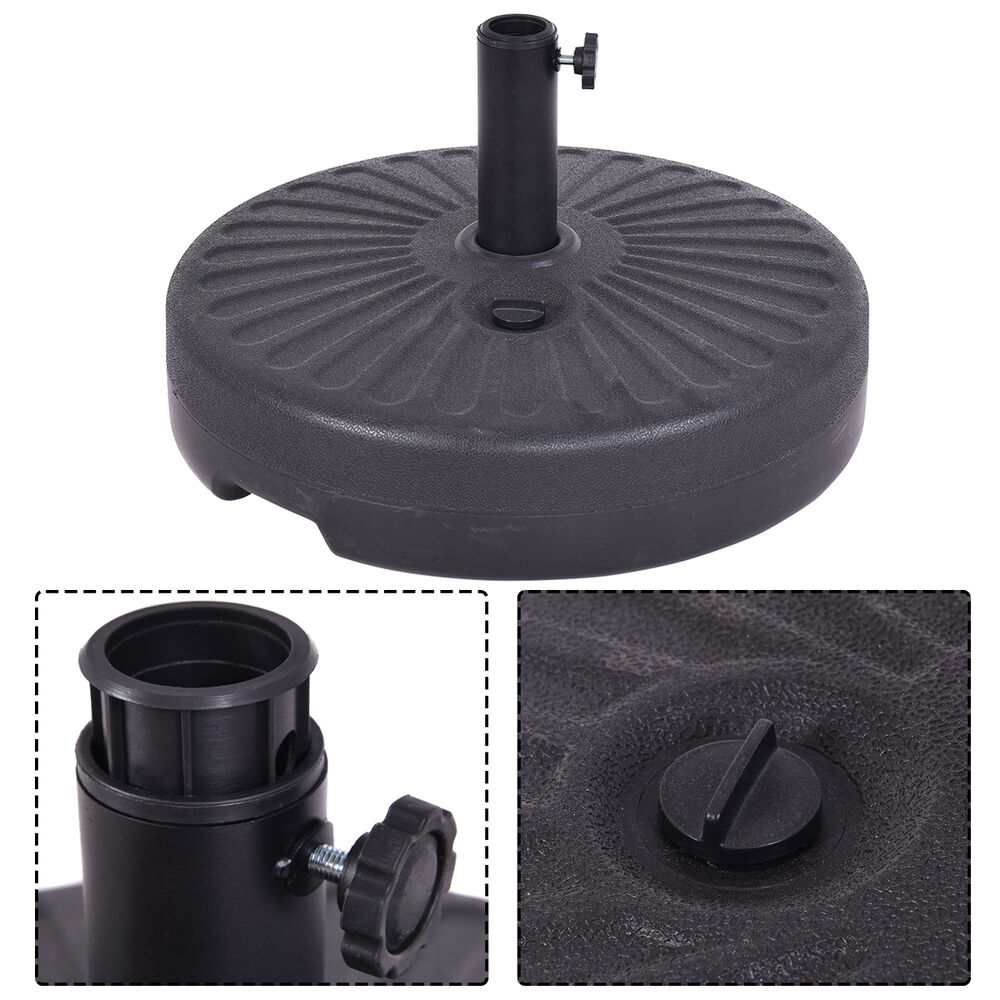 Umbrella Stand Water Filled: Round 50lb Water Plastic Umbrella Base Recyclable Patio 20