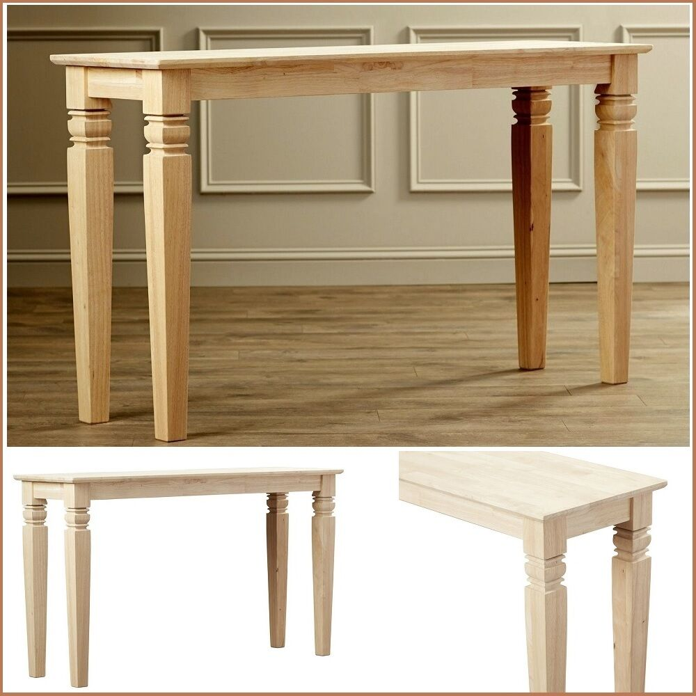 Details About Accent Console Table Rustic Narrow Unfinished Wood Legs Couch Entryway Hall New