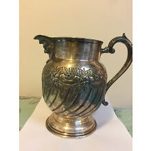 Antique NB&S English Hand Chased Silver Plate Water Pitcher