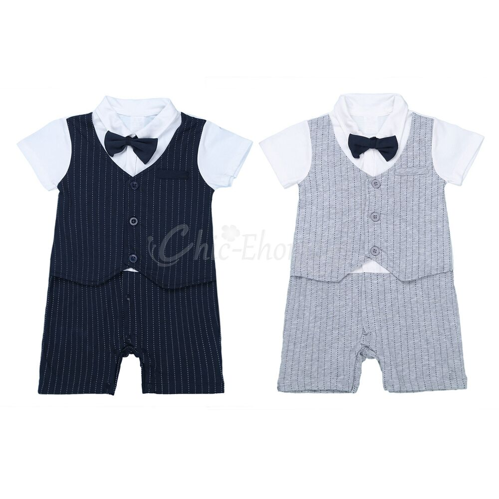 Infant Baby Boy Wedding Christening Tuxedo Formal Romper