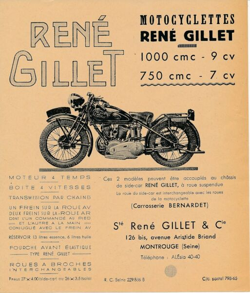 PLAQUE ALU DECO MOTOCYCLETTE RENE GILLET ET CIE PARIS LONG TOURISME 1920 Verzamelingen Reclameborden, reproducties
