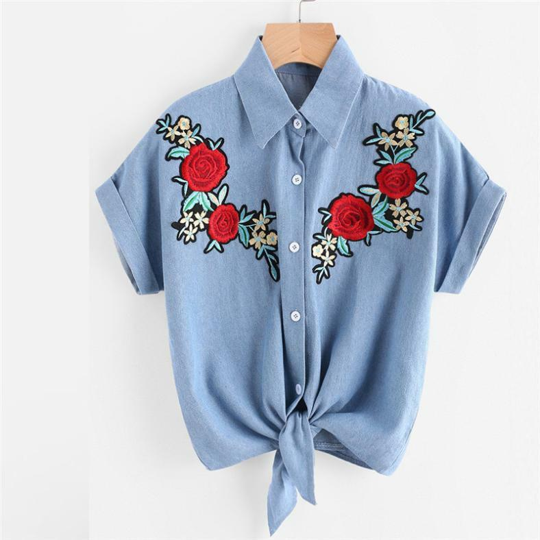 ba6577b81af774 Details about Womens Blouse Rose Flower Short Sleeve Shirt Casual Button  Jeans Tops T-Shirt