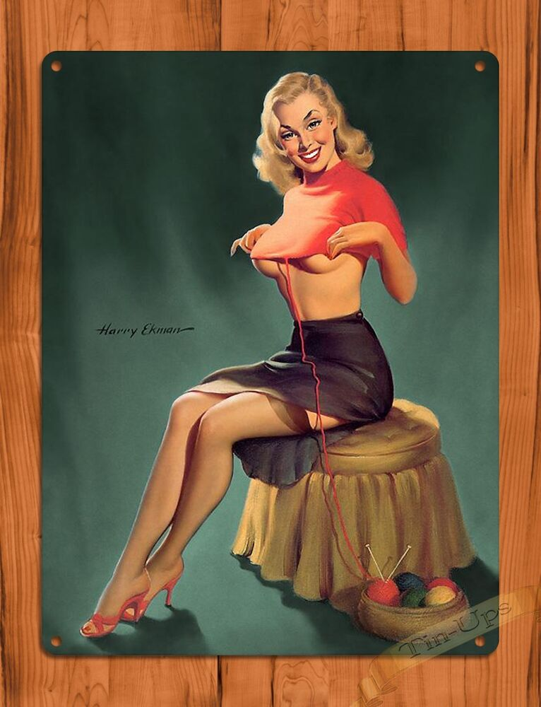 tin ups tin sign unraveling pin up sexy vintage wall decor ebay. Black Bedroom Furniture Sets. Home Design Ideas