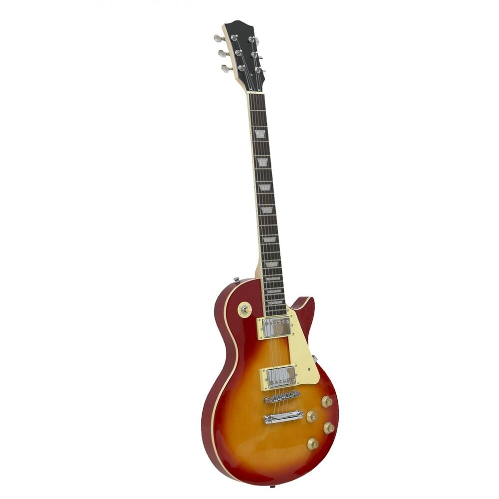 new lp style sunburst 6 string full sized electric guitar with case 638353966294 ebay. Black Bedroom Furniture Sets. Home Design Ideas