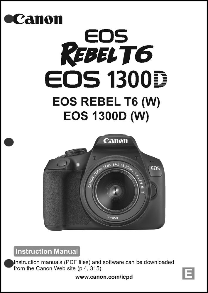canon rebel t6 eos 1300d digital camera user instruction guide