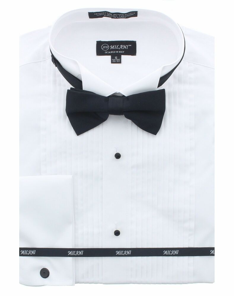 Milani mens tuxedo shirt with bowtie in standard french for Tuxedo shirt french cuff